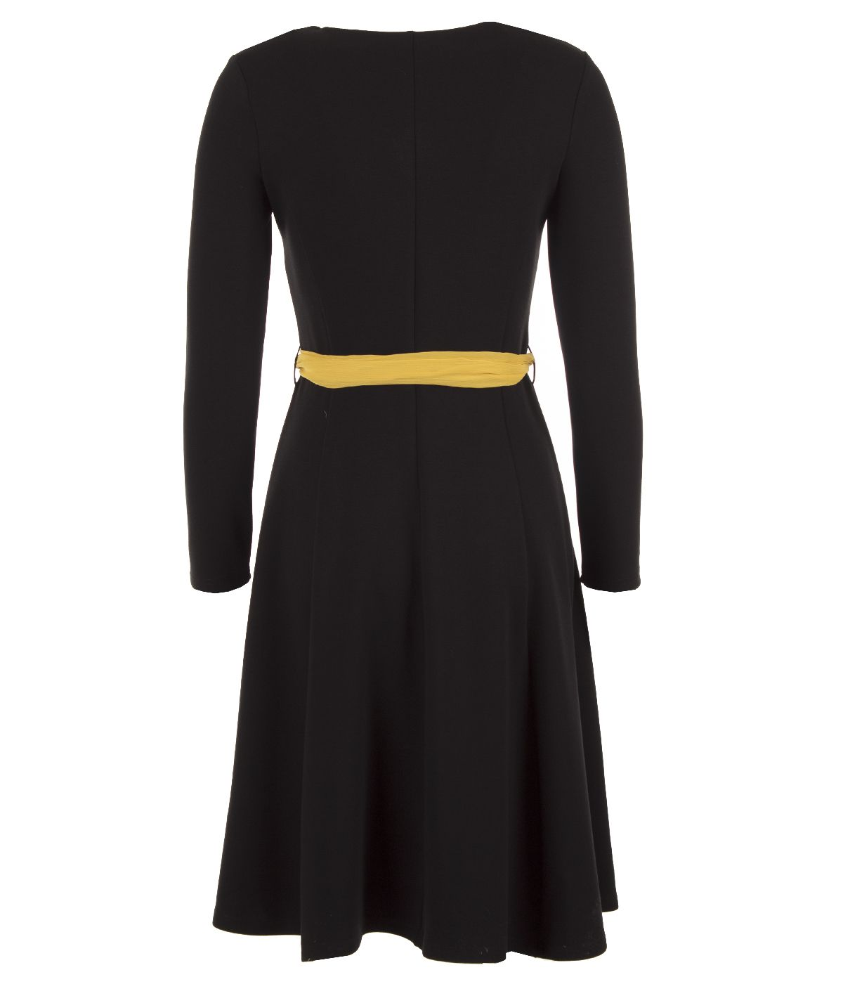 Elegant dress with rayon and silk, with contrasting textile belt 1