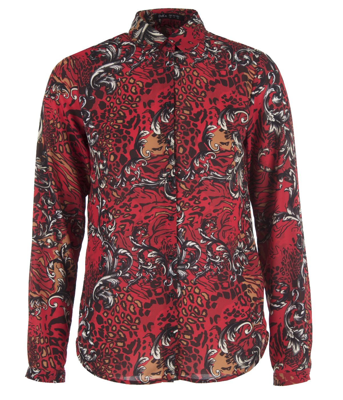 Long-sleeved shirt, animal print with decorative elements 0