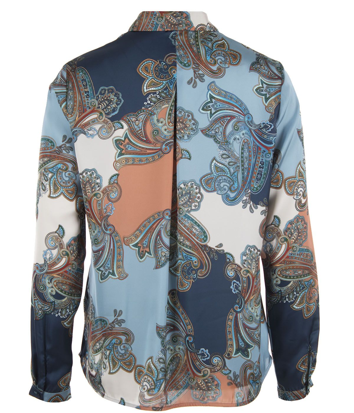 Long-sleeved, high collar blouse with paisley motif 1