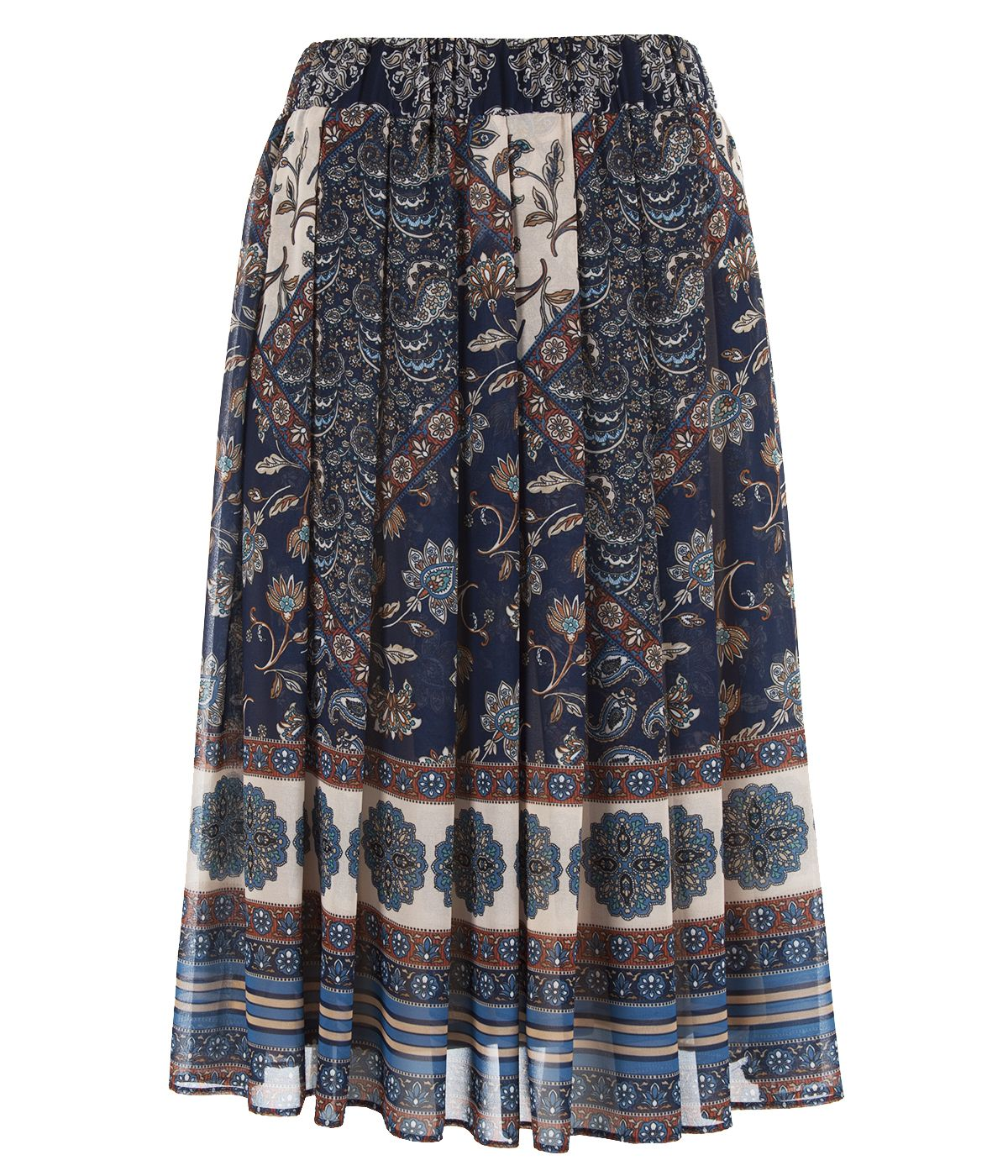 Midi pleated skirt with paisley pattern 0