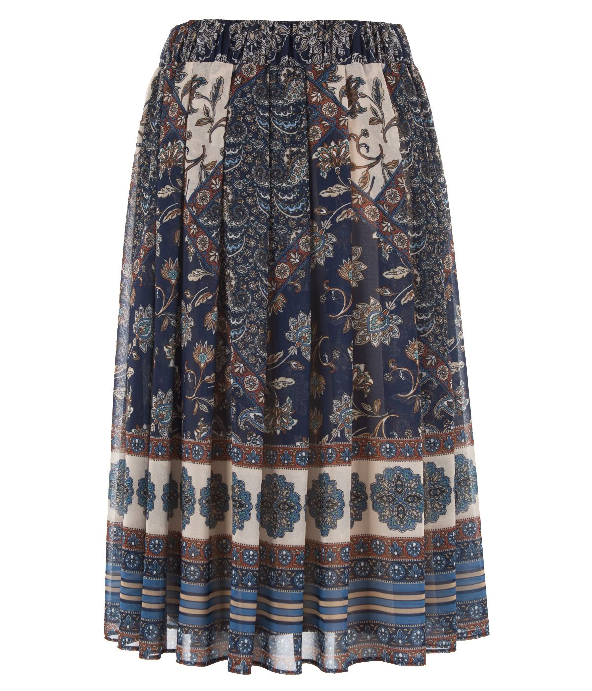 Midi pleated skirt with paisley pattern 1