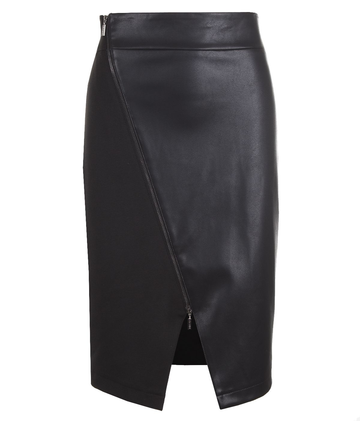 Skirt with asymmetrical zip closure, with rayon and viscose 0
