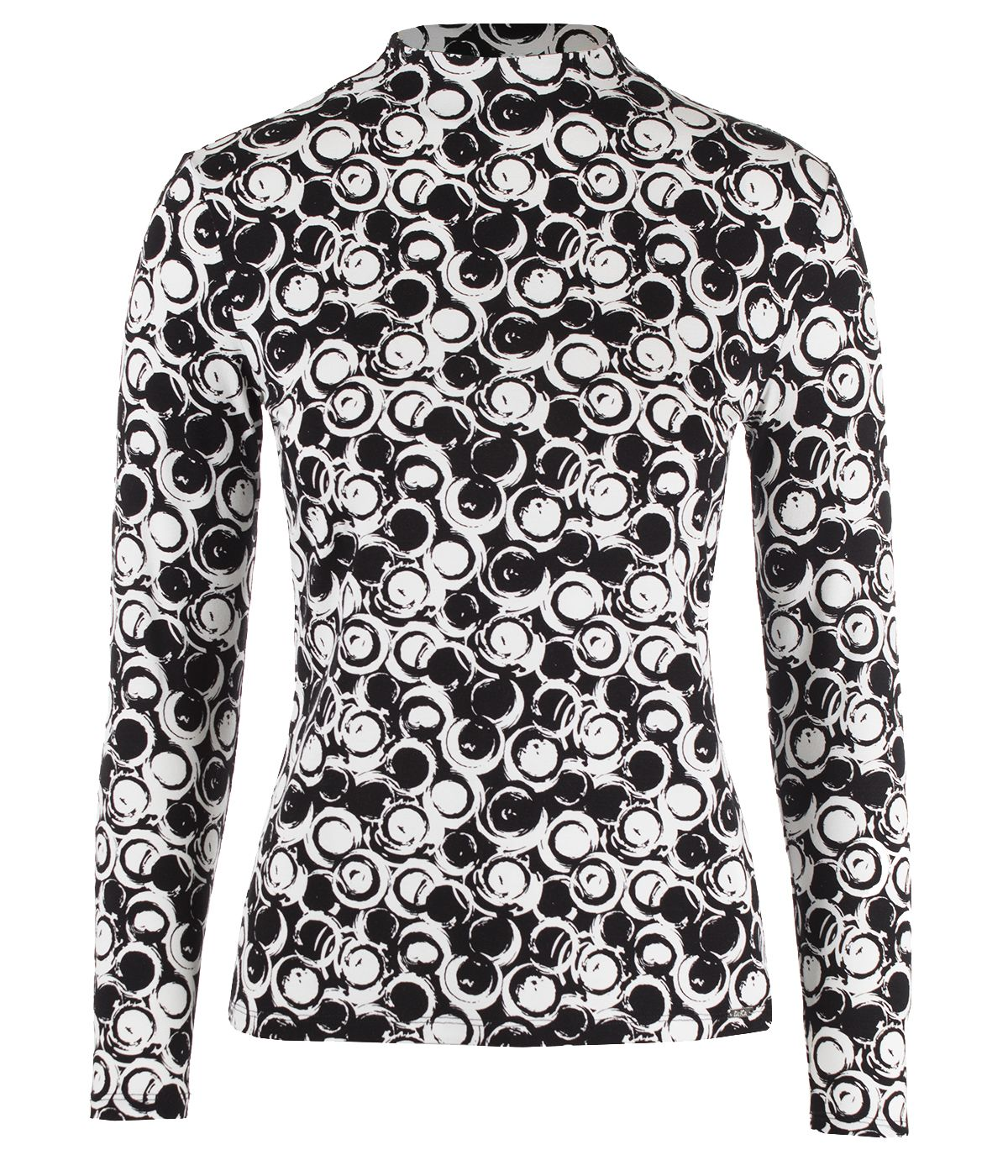 Long-sleeved turtleneck viscose blouse with geometric print 0