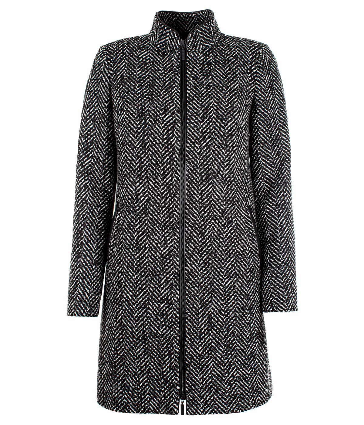 Wool coat herringbone, zip fastening