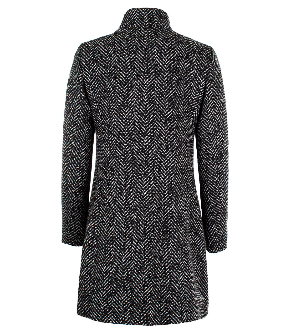 Wool coat herringbone, zip fastening 1
