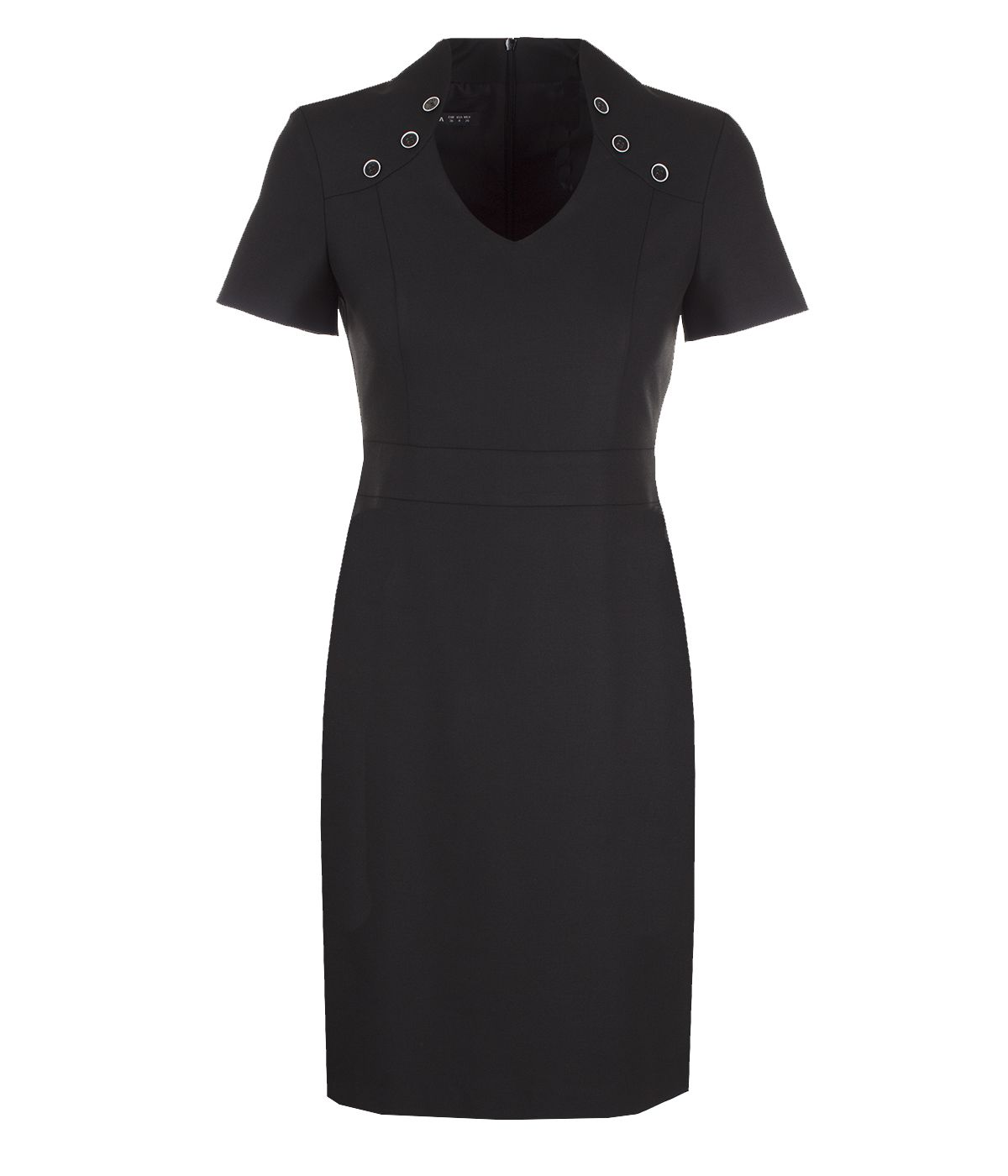 Fitted short-sleeved dress with V-neck, with viscose 0