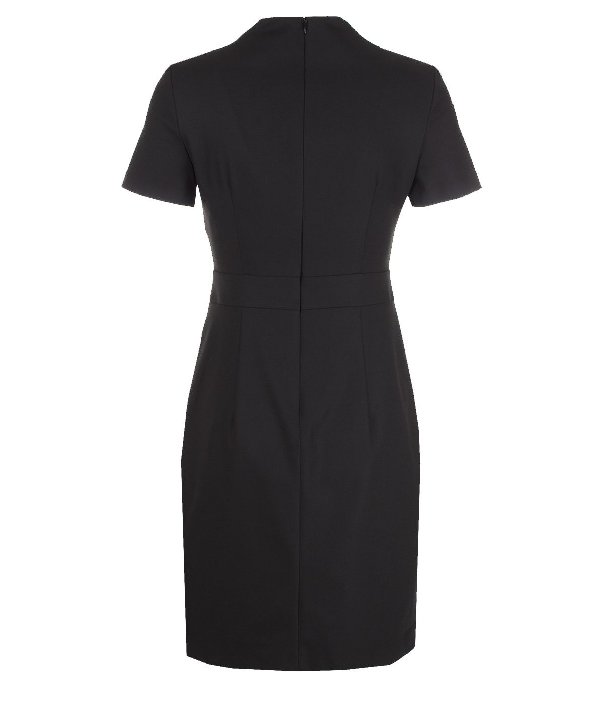 Fitted short-sleeved dress with V-neck, with viscose 1