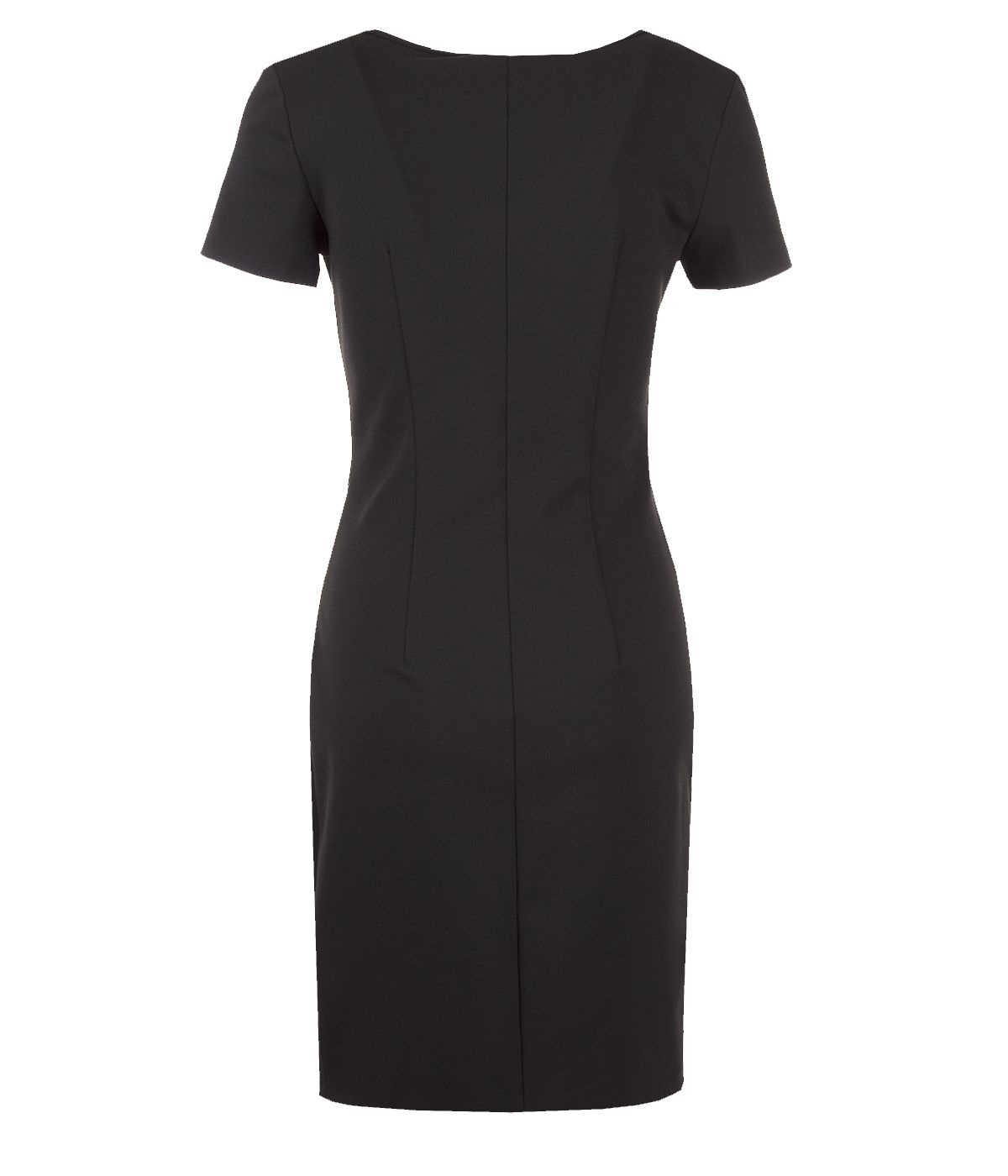 Fitted short-sleeved dress with contrasting side edging 1