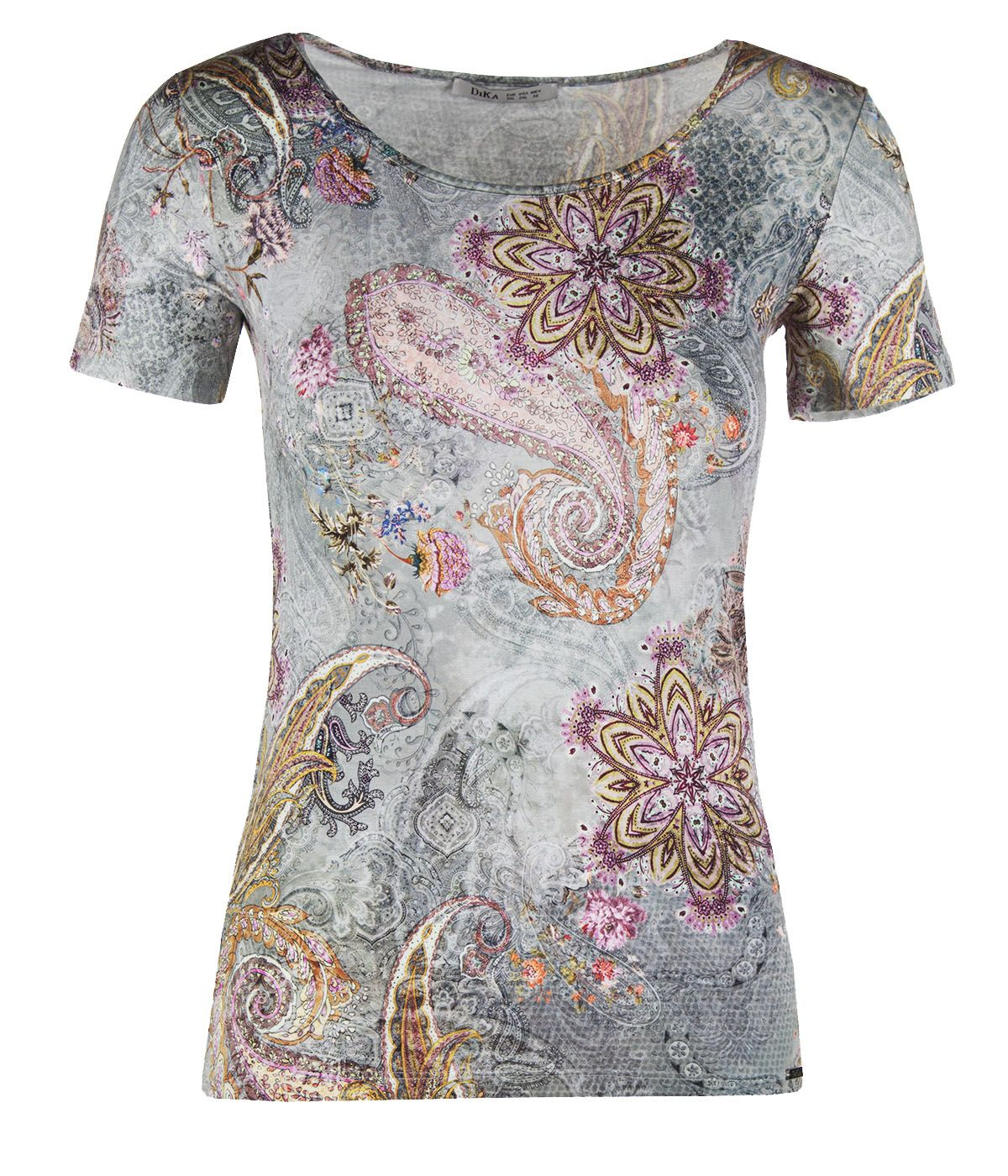Short-sleeved viscose blouse with paisley motif 0