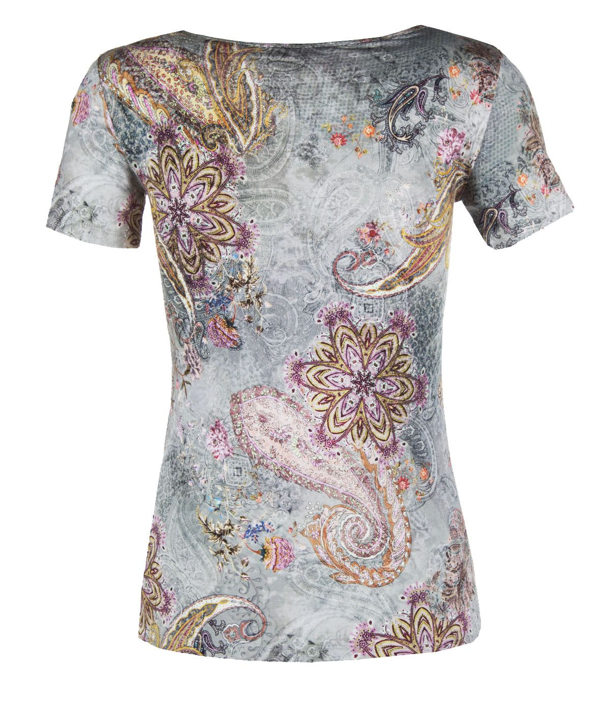 Short-sleeved viscose blouse with paisley motif 1