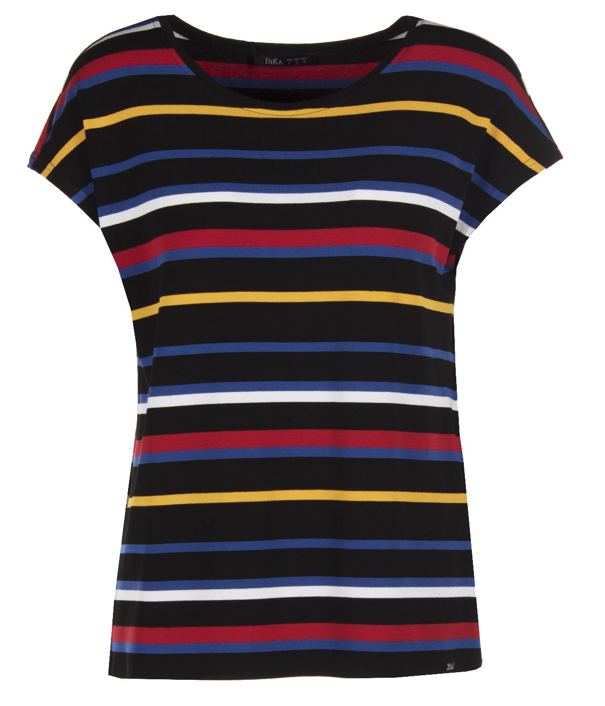 Short-sleeved viscose blouse with round neck and striped print 0