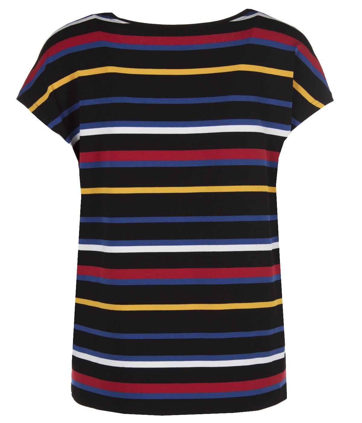 Short-sleeved viscose blouse with round neck and striped print 1