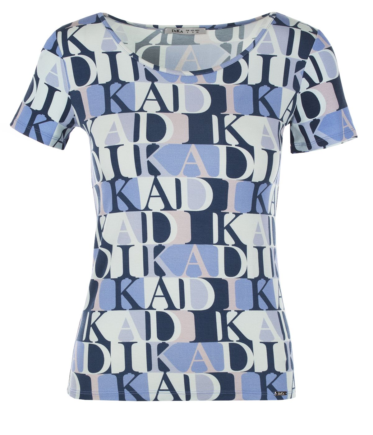 Short-sleeved viscose blouse with stylized logo print 0