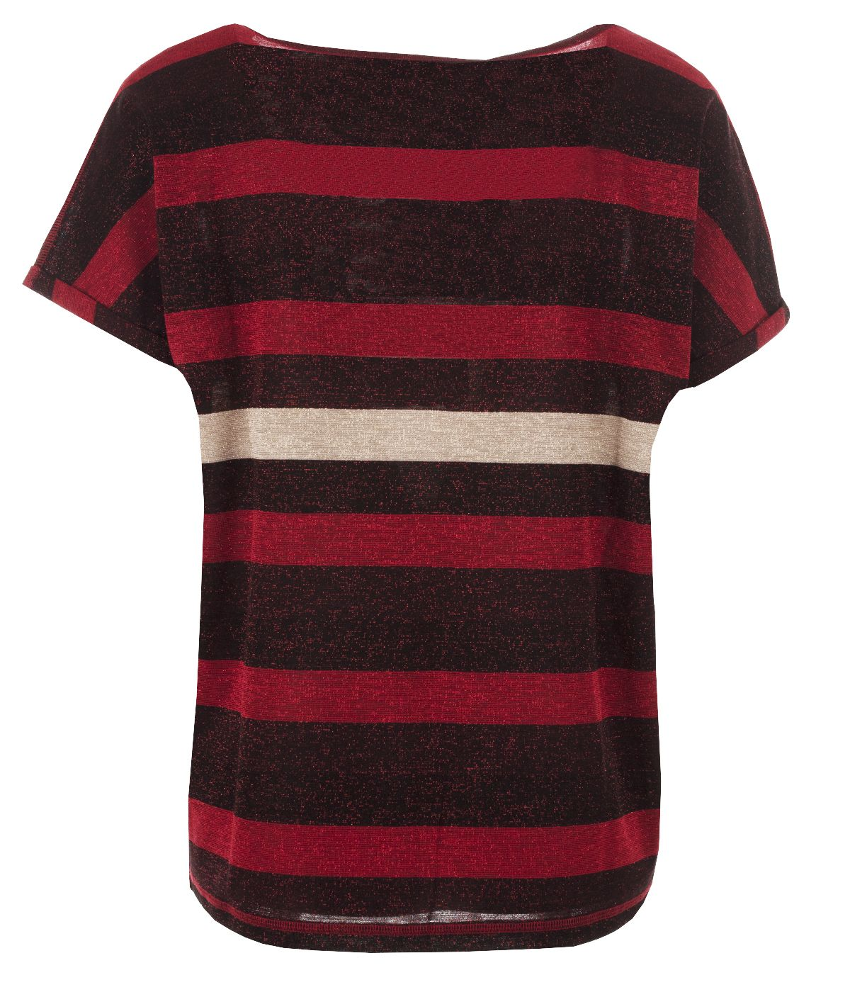 Lurex short-sleeved blouse with round neck and stripes print 1