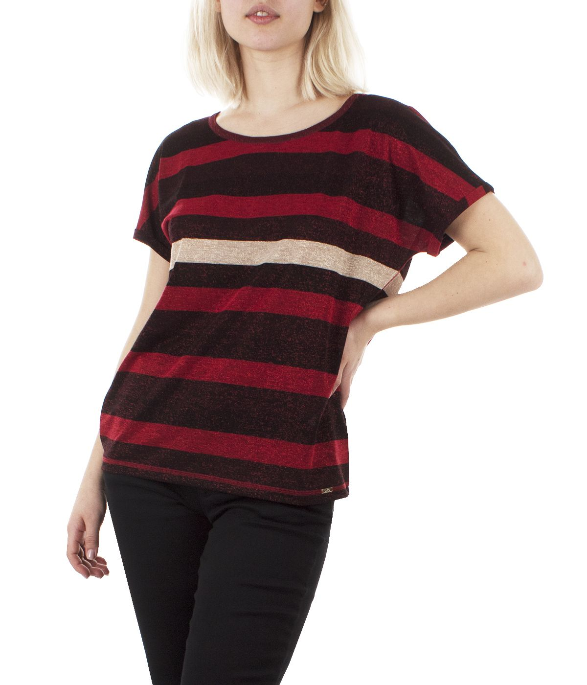 Lurex short-sleeved blouse with round neck and stripes print 2