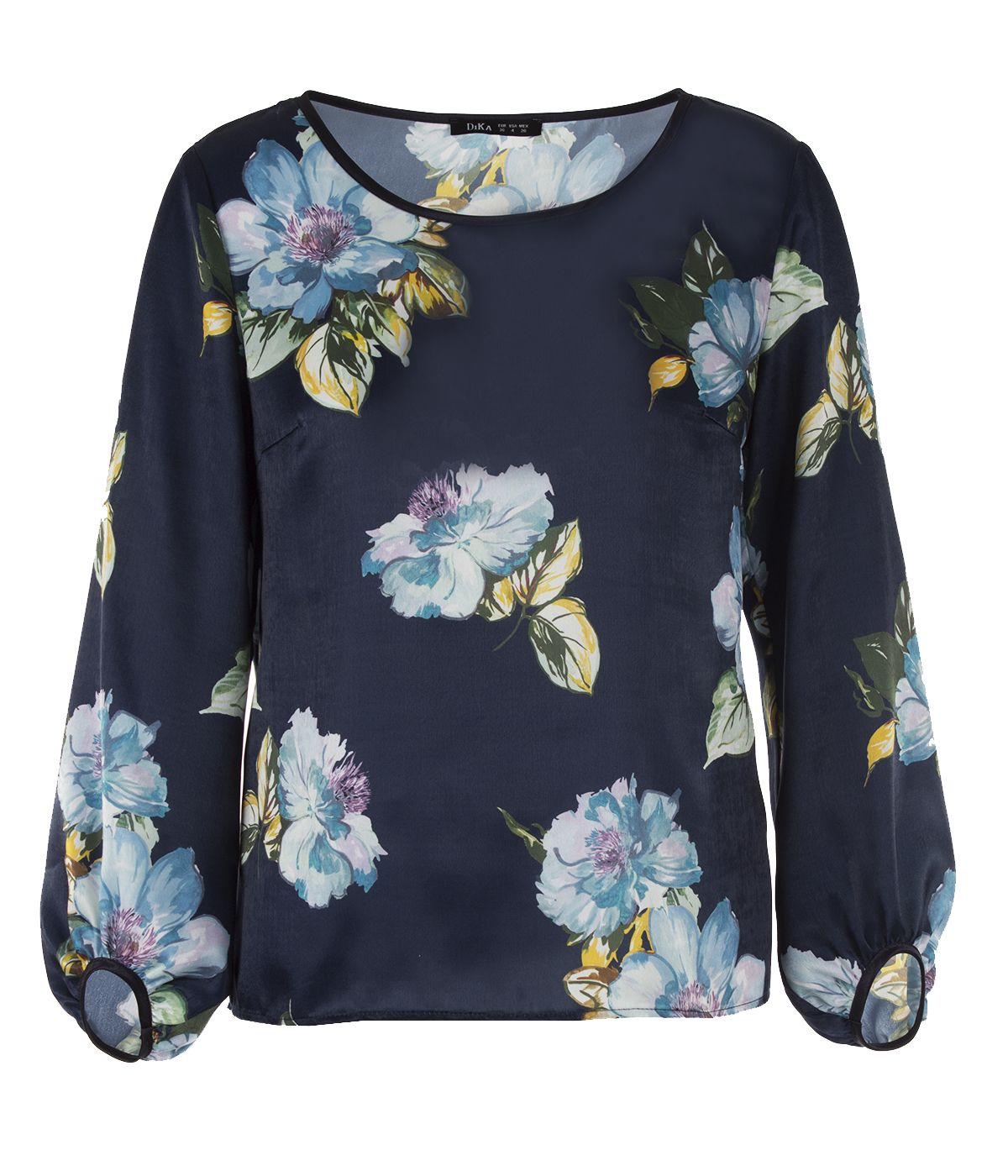 Long-sleeved round neck blouse with flowers print  0