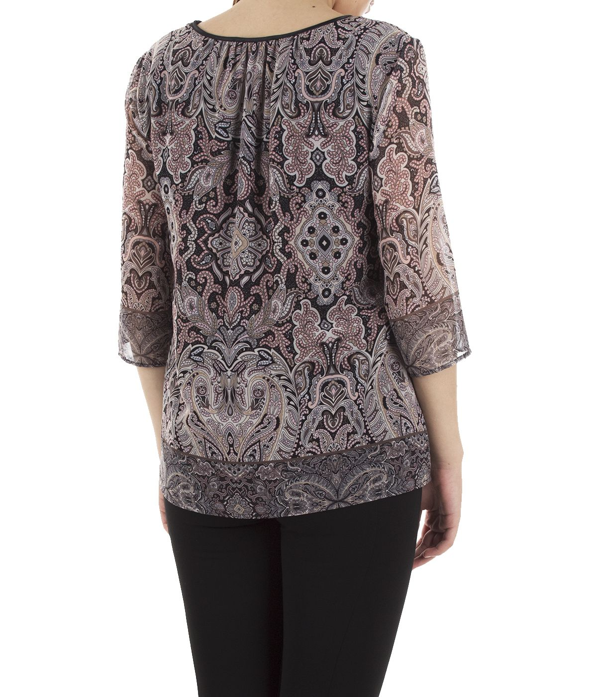 Blouse with 3/4 sleeves and paisley print 3