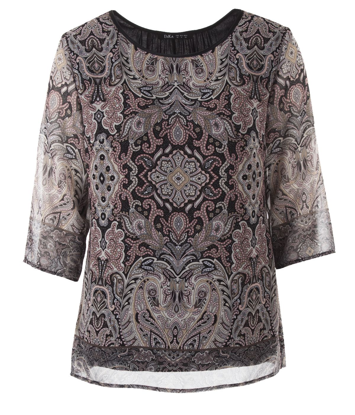 Blouse with 3/4 sleeves and paisley print 0