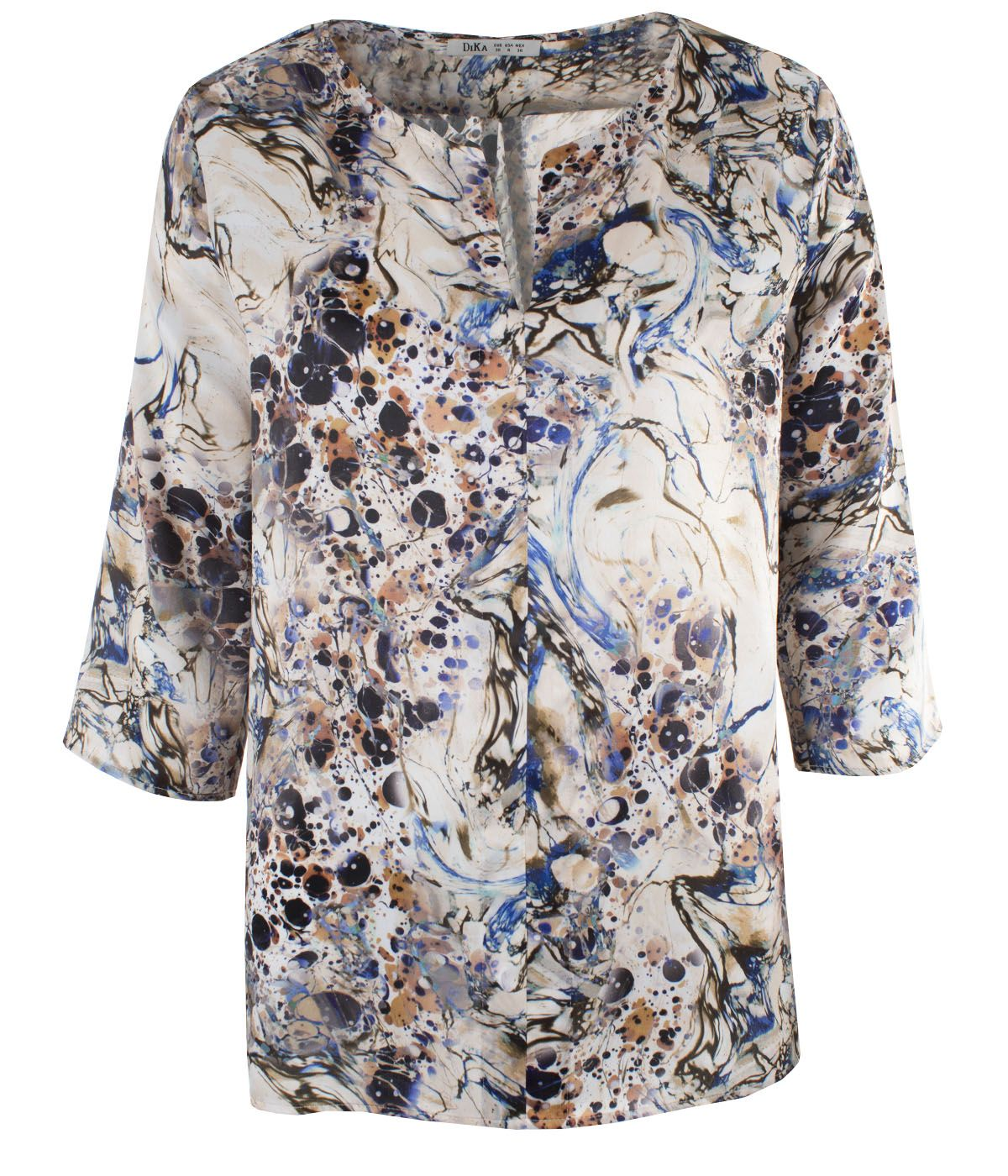 Blouse with 3/4 sleeves, box-pleat and abstract print  0