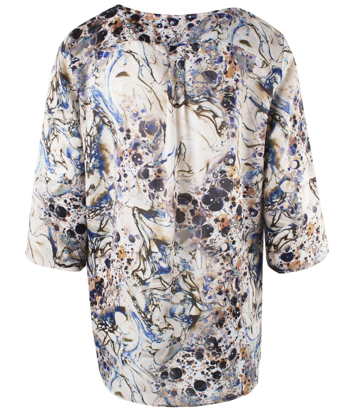 Blouse with 3/4 sleeves, box-pleat and abstract print  1