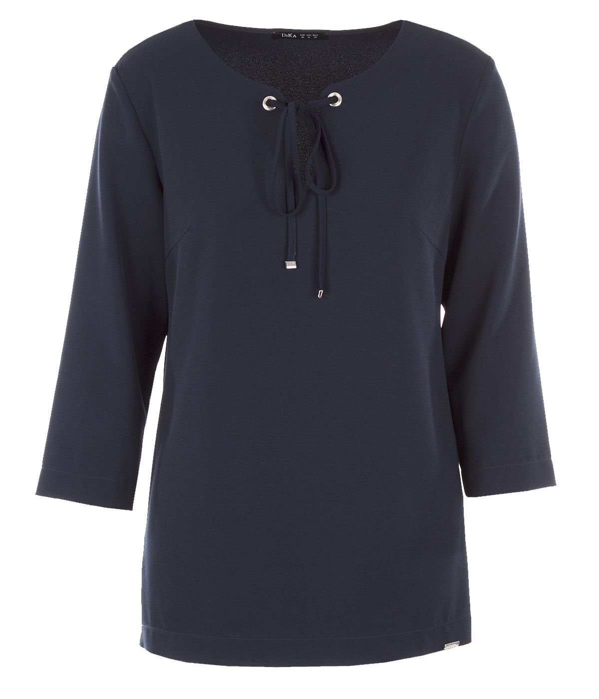 Blouse with 7/8 sleeves and decorative cord on the neckline  0