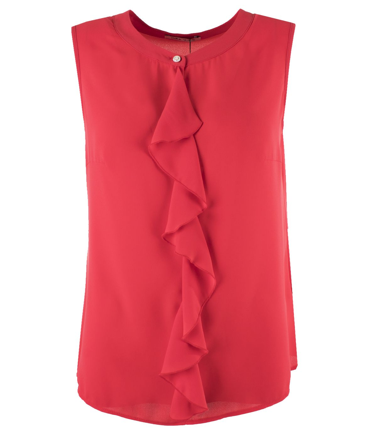 Sleeveless blouse with decorative front flounce 0