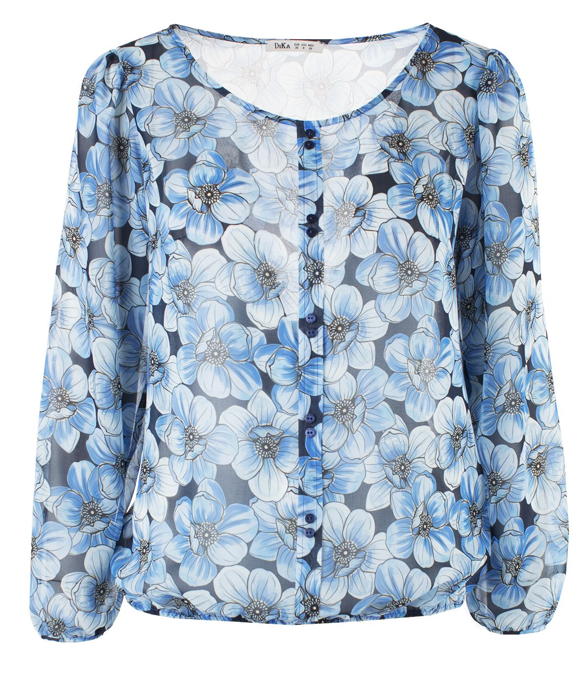 Box pleat blouse with buttons and large flowers print 0