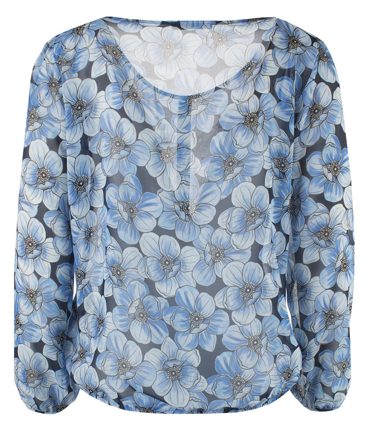Box pleat blouse with buttons and large flowers print 1