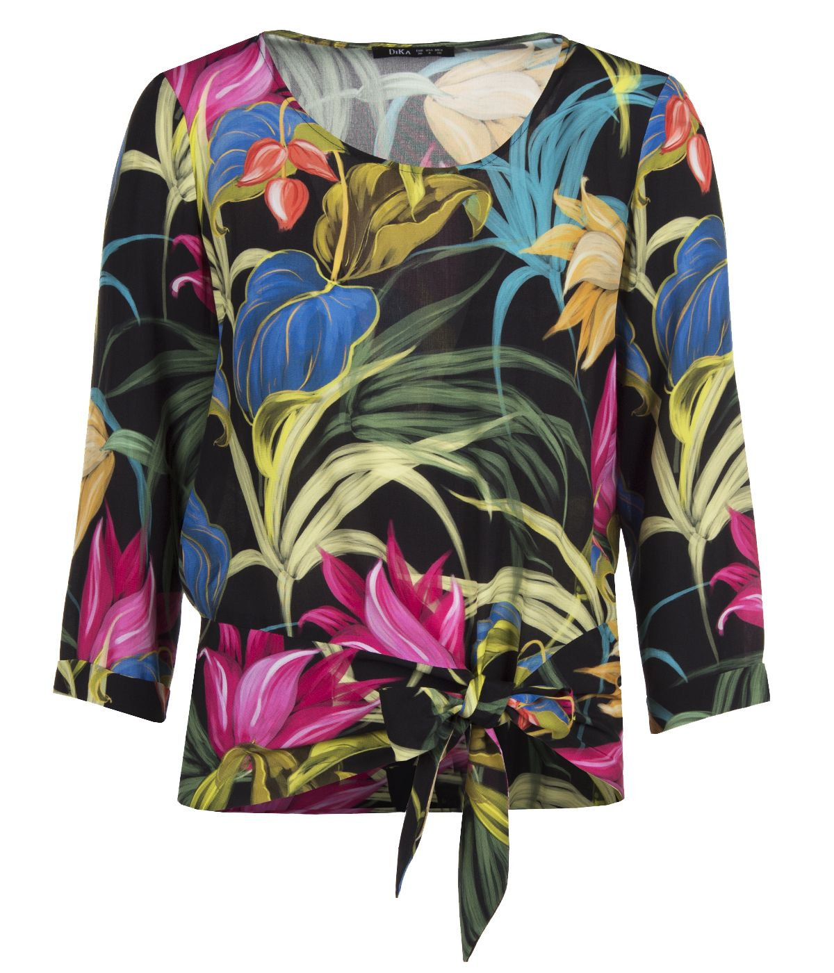 Round neck viscose rayon blouse with tie-hem finish and tropical print 0