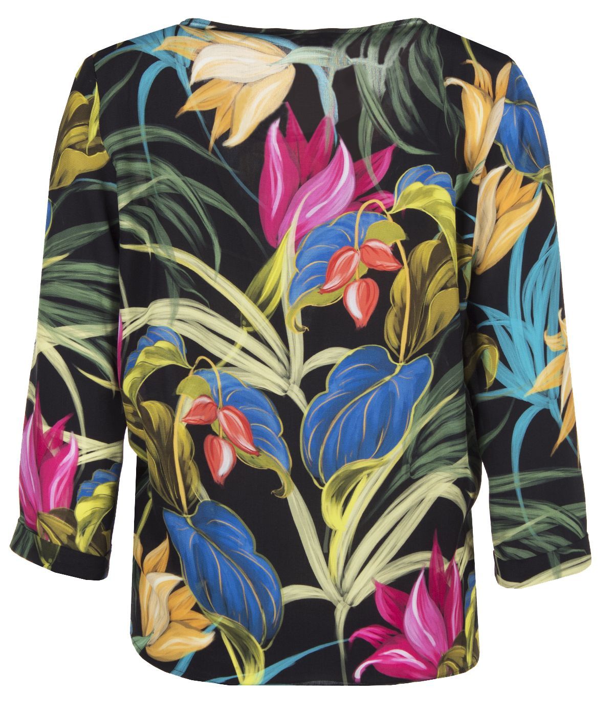 Round neck viscose rayon blouse with tie-hem finish and tropical print 1
