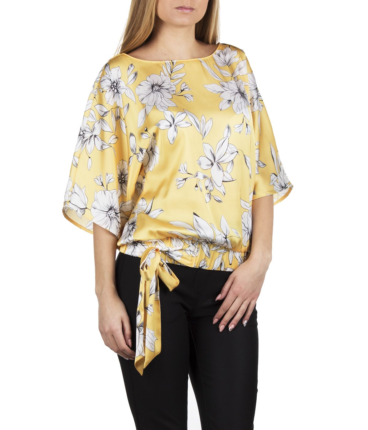 Short-sleeved blouse with tie-hem finish and flowers print 2