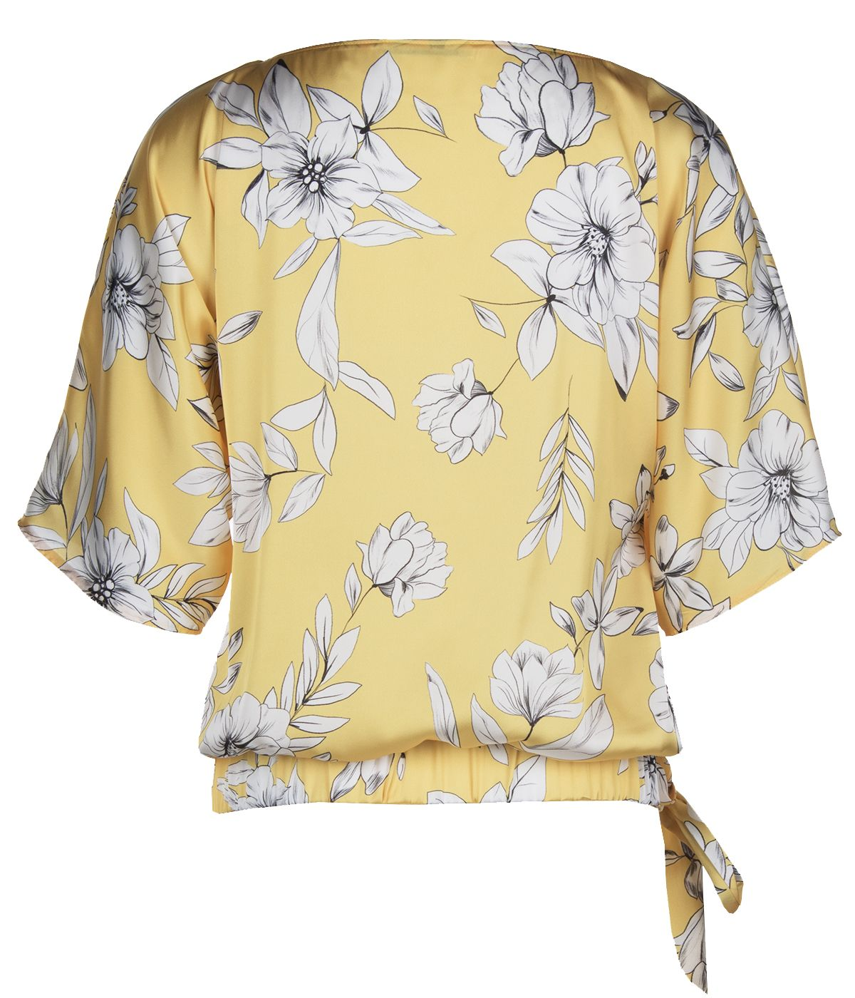 Short-sleeved blouse with tie-hem finish and flowers print 1