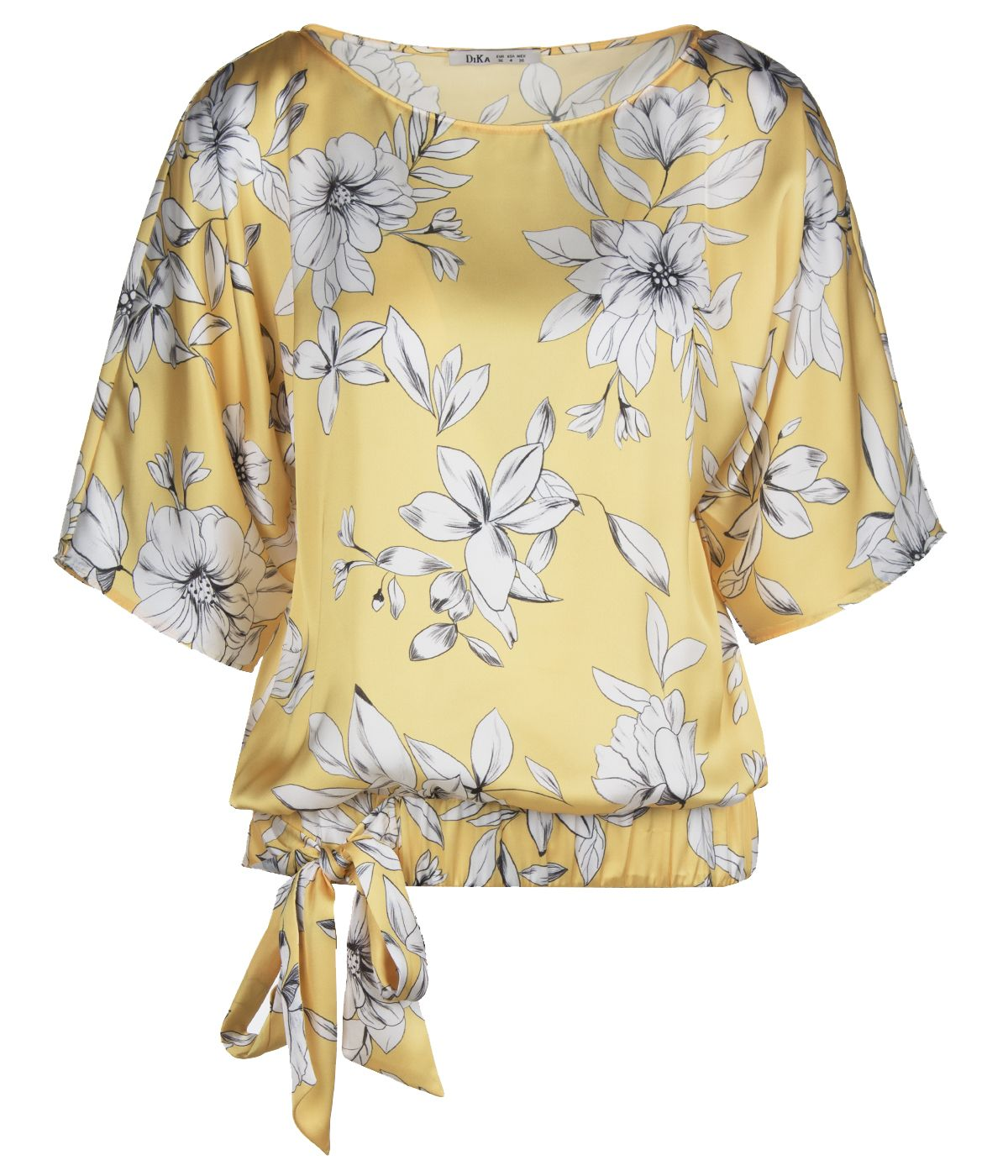 Short-sleeved blouse with tie-hem finish and flowers print 0