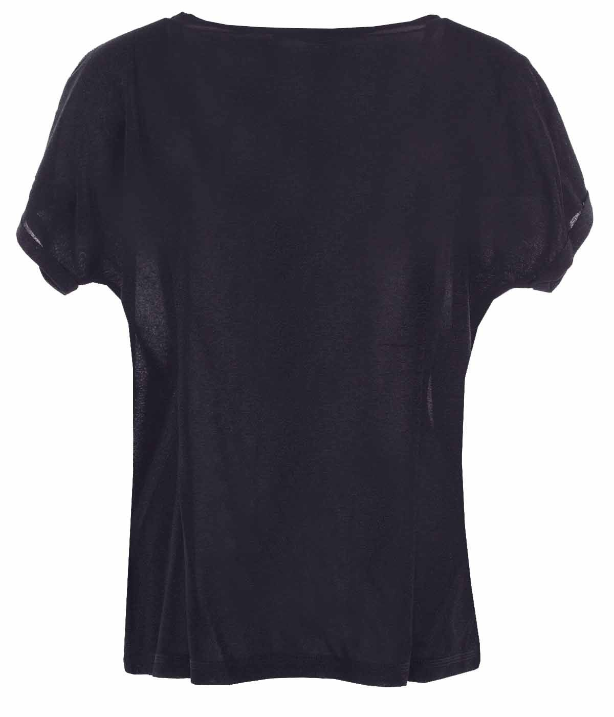 Lurex short-sleeved blouse with round neck with viscose 1