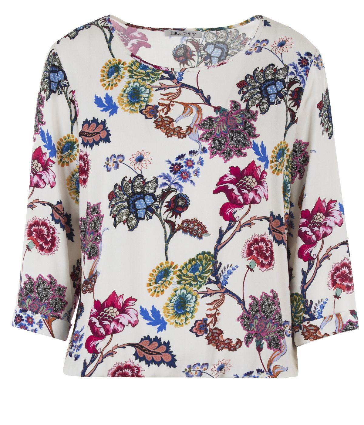 Блуза с дълъг ръкав от вискоза с мотив на цветя 0