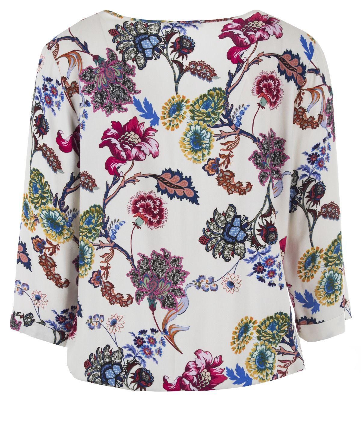 Блуза с дълъг ръкав от вискоза с мотив на цветя 1