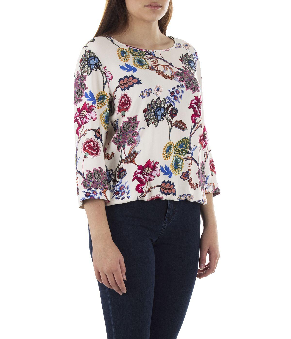 Блуза с дълъг ръкав от вискоза с мотив на цветя 2