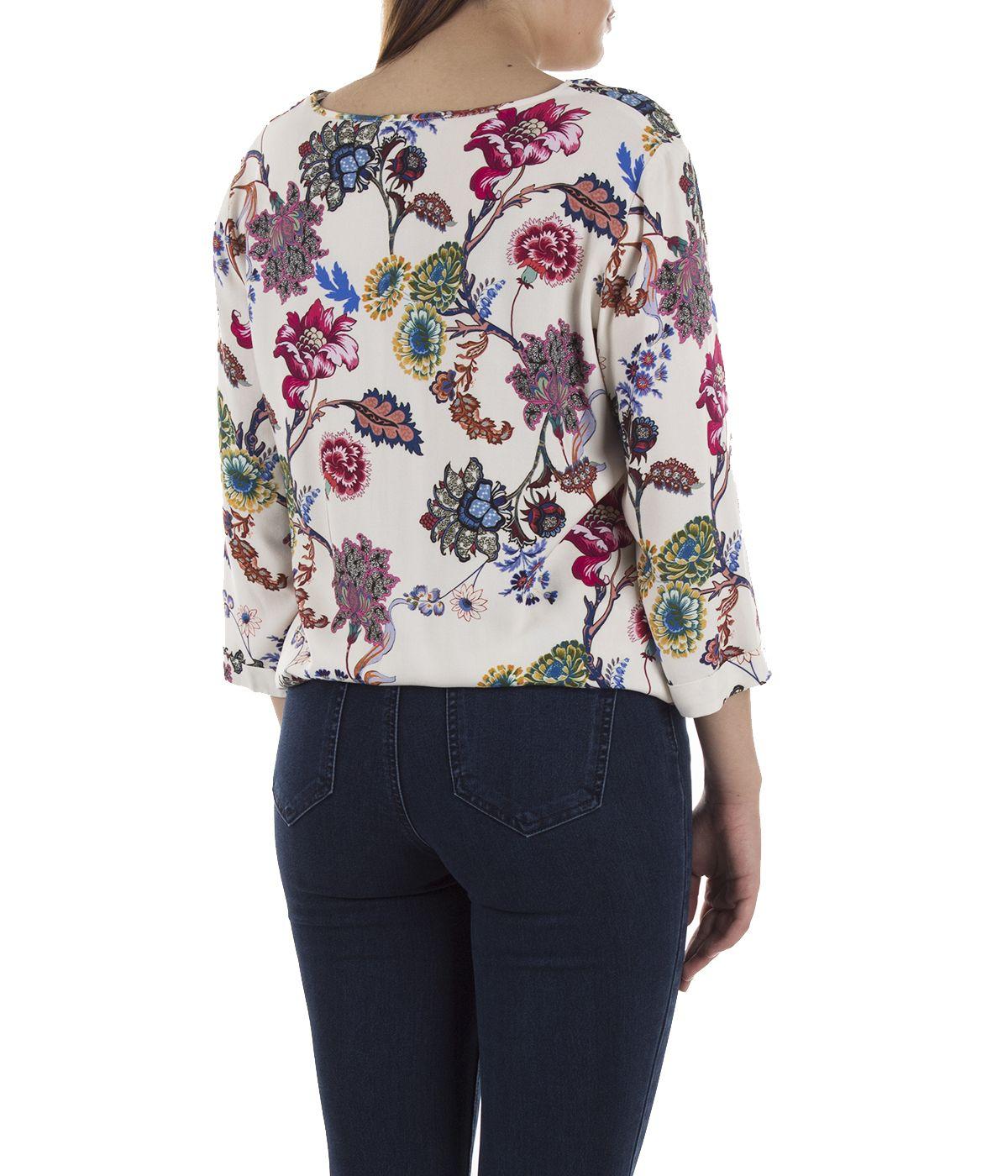 Блуза с дълъг ръкав от вискоза с мотив на цветя 3