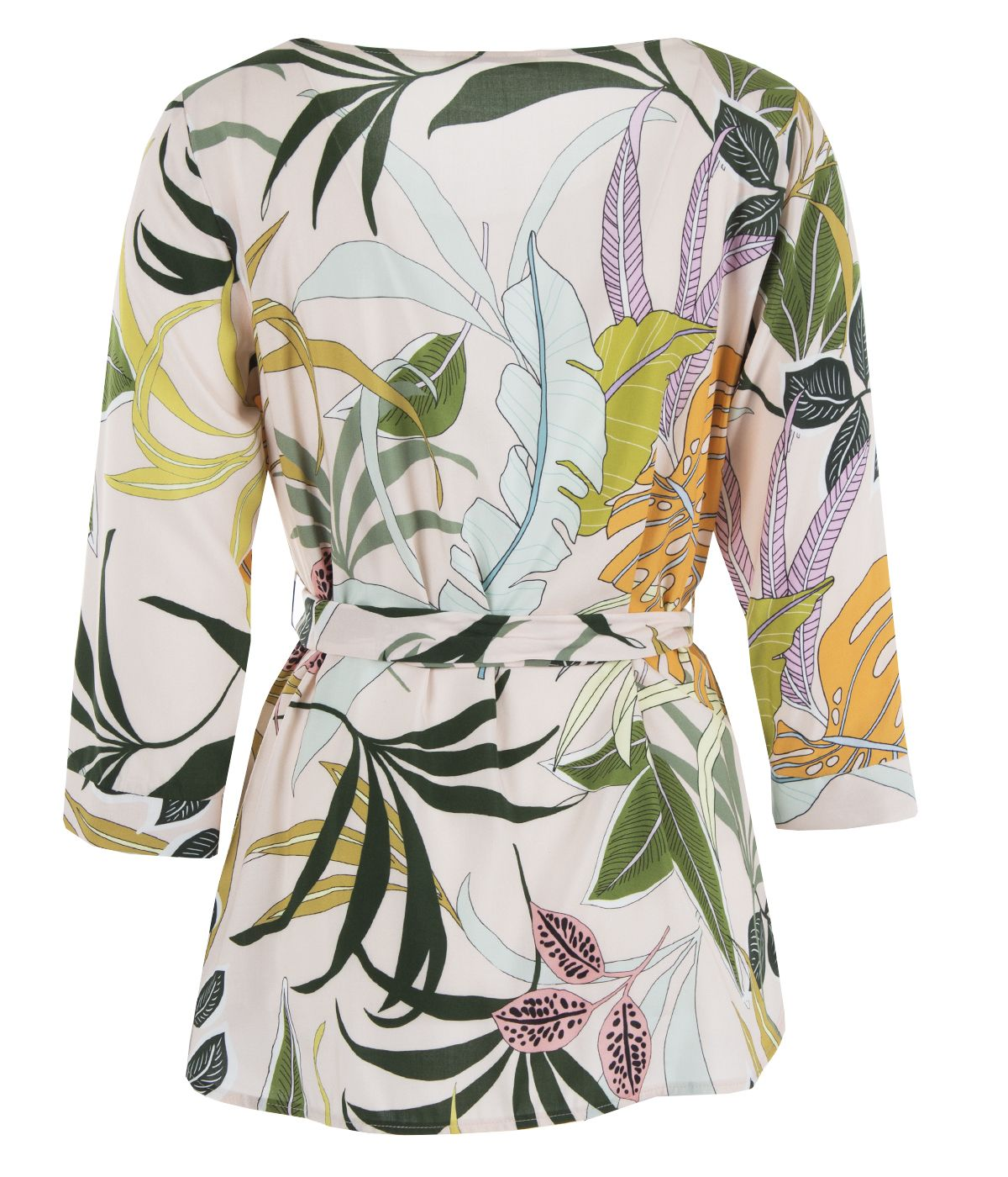 Viscose blouse with textile belt and tropical print 1
