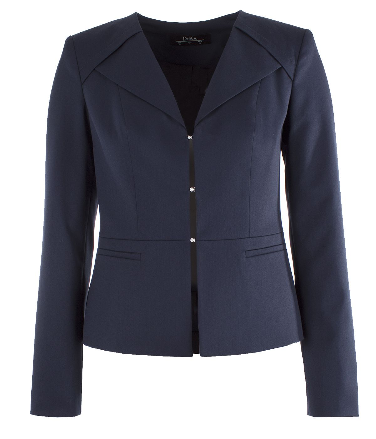 Fitted jacket without lapels with three pearl-type buttons fastening 0