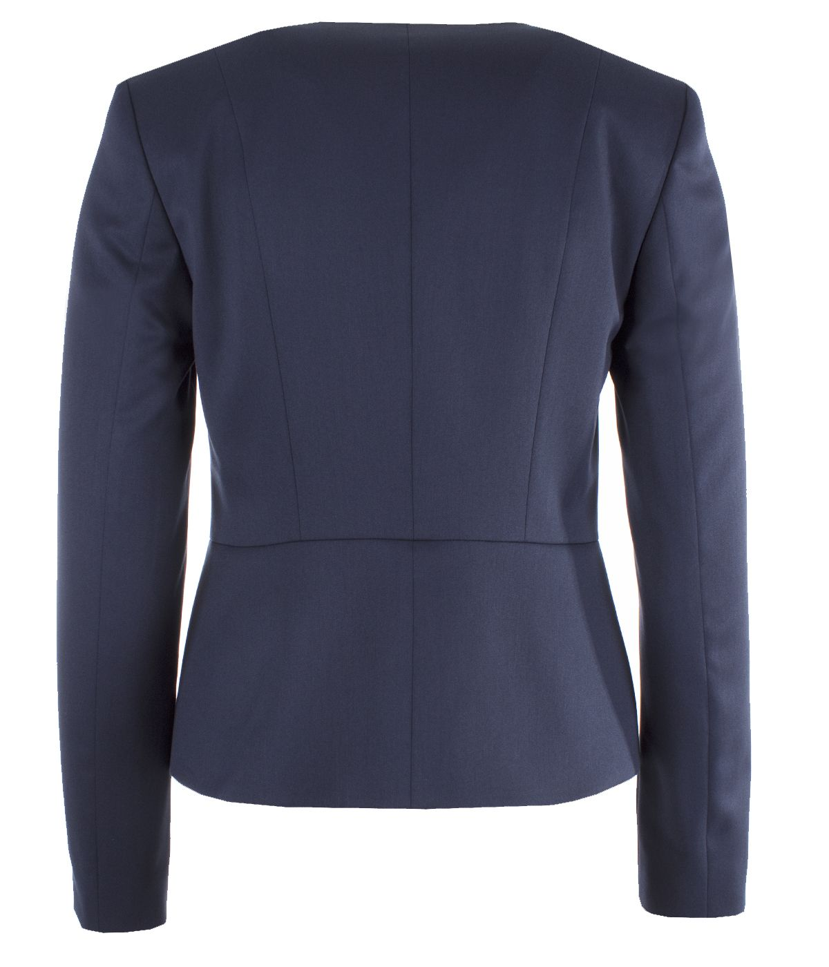 Fitted jacket without lapels with three pearl-type buttons fastening 1