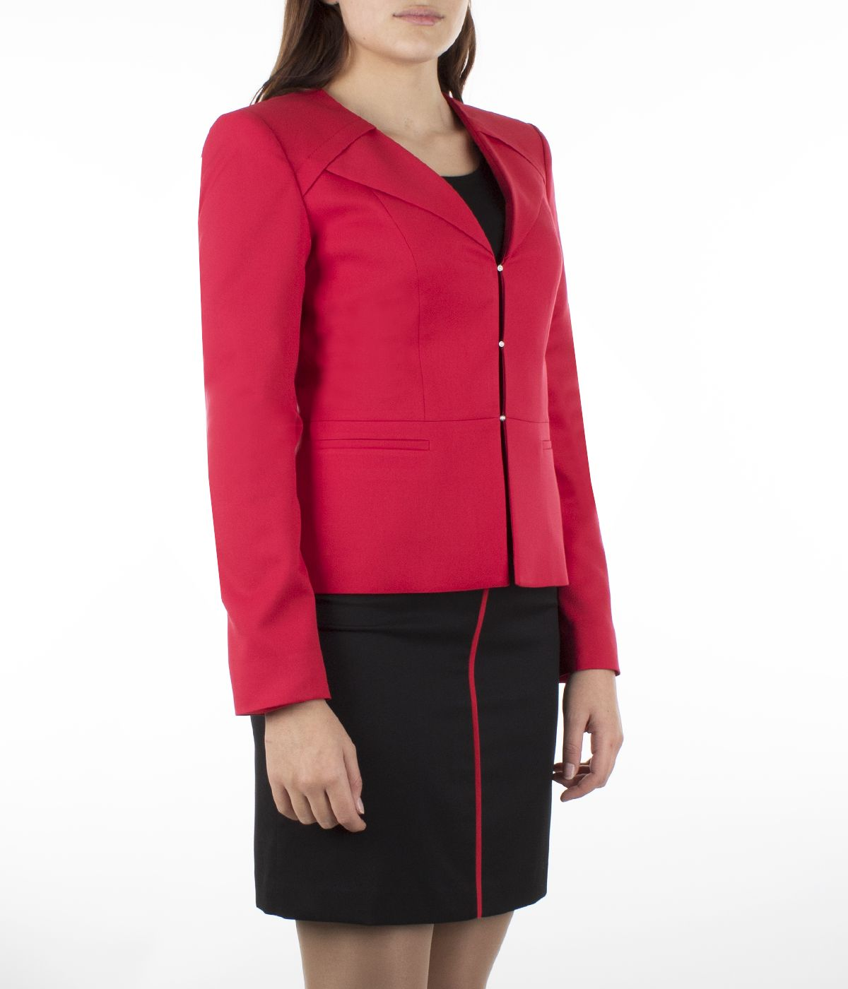 Fitted jacket without lapels with three pearl-type buttons fastening 2
