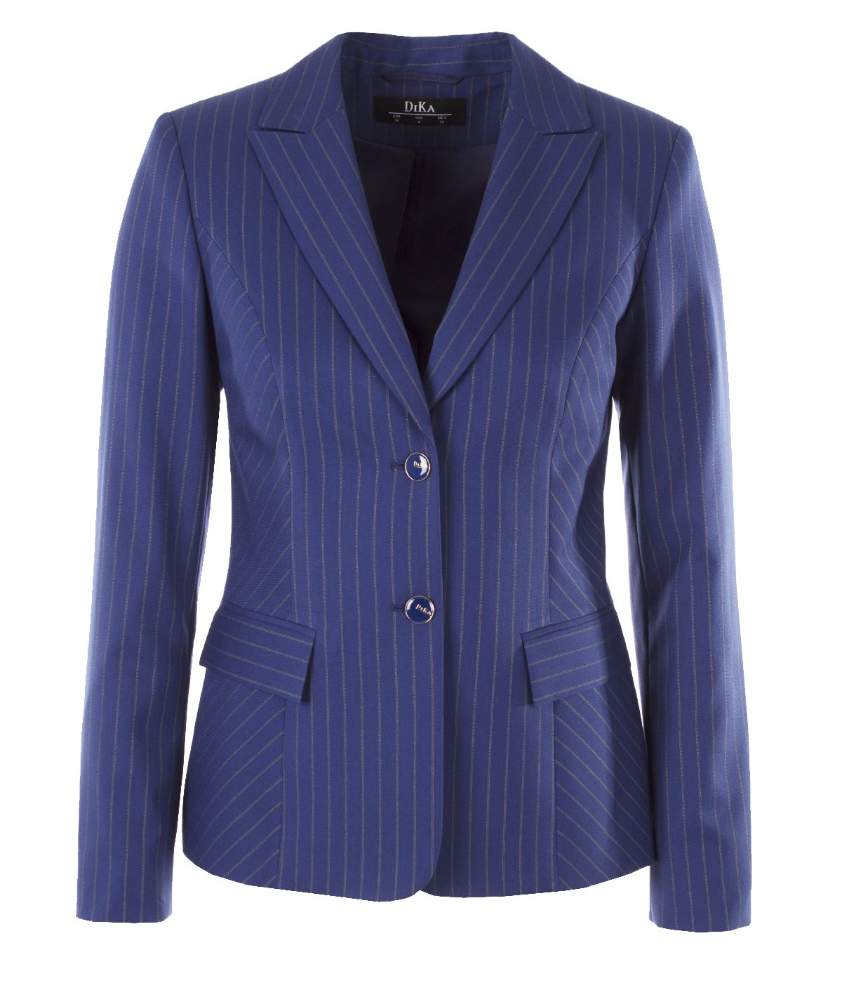 Fitted fine stripes single-breasted jacket with lapels 0