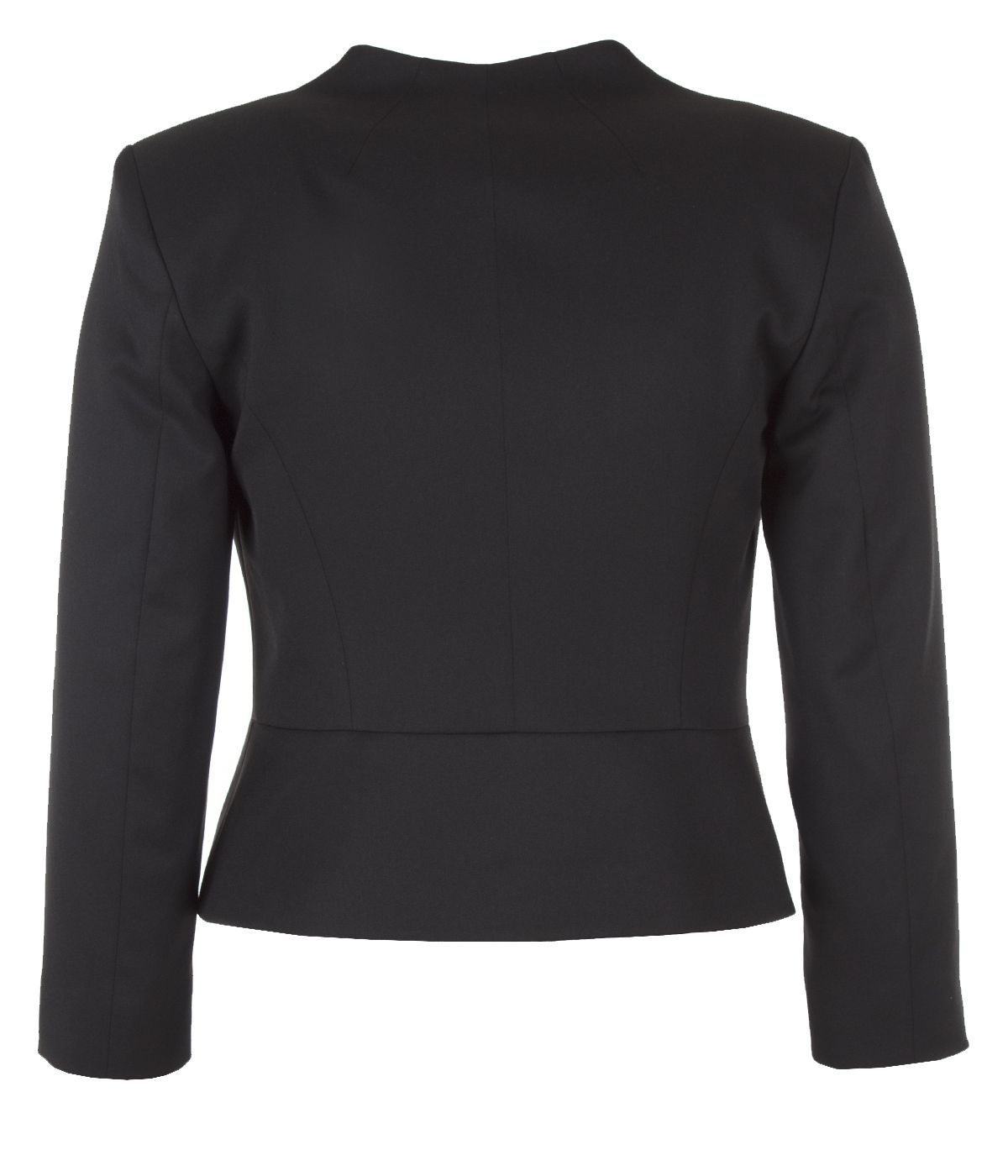 Fitted jacket without lapels with two pearl-type buttons fastening 1