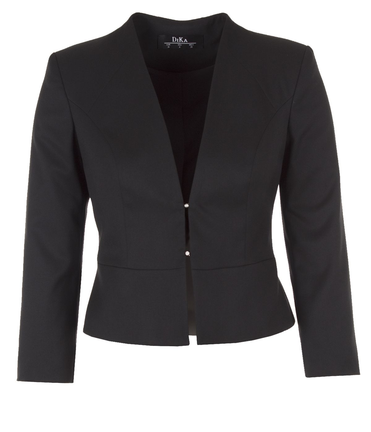 Fitted jacket without lapels with two pearl-type buttons fastening 0