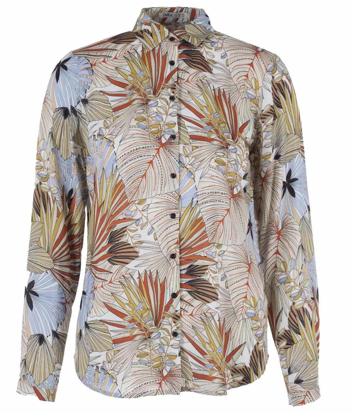 Viscose shirt with tropical print 0