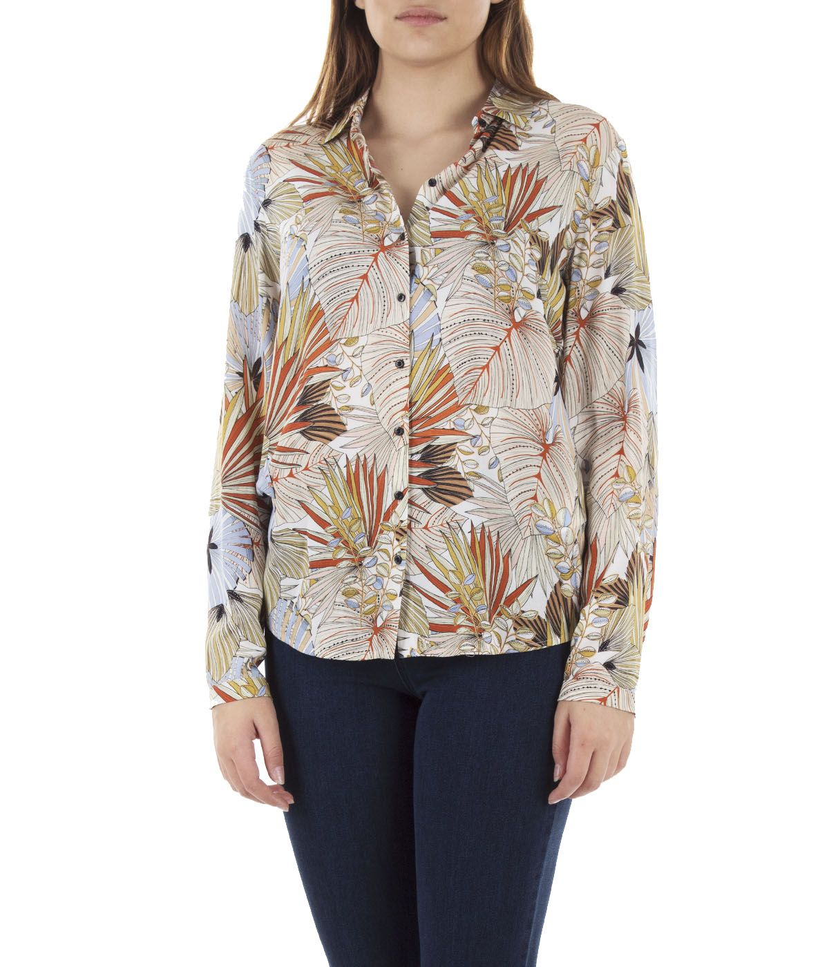 Viscose shirt with tropical print 2