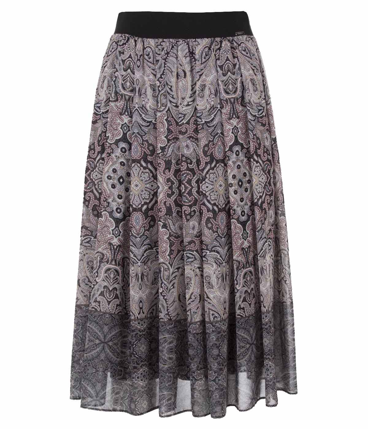Midi skirt with box pleats and paisley print 0