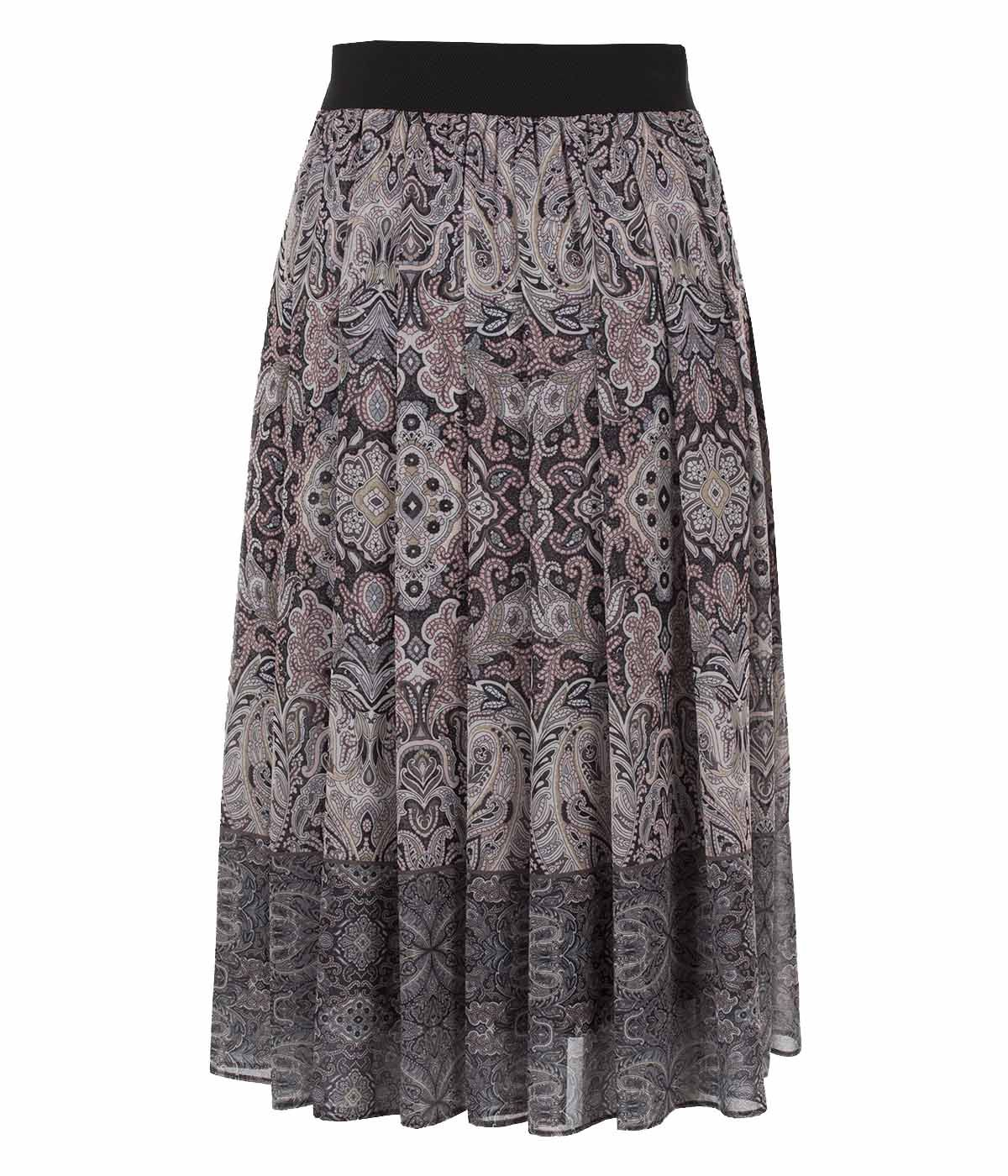 Midi skirt with box pleats and paisley print 1