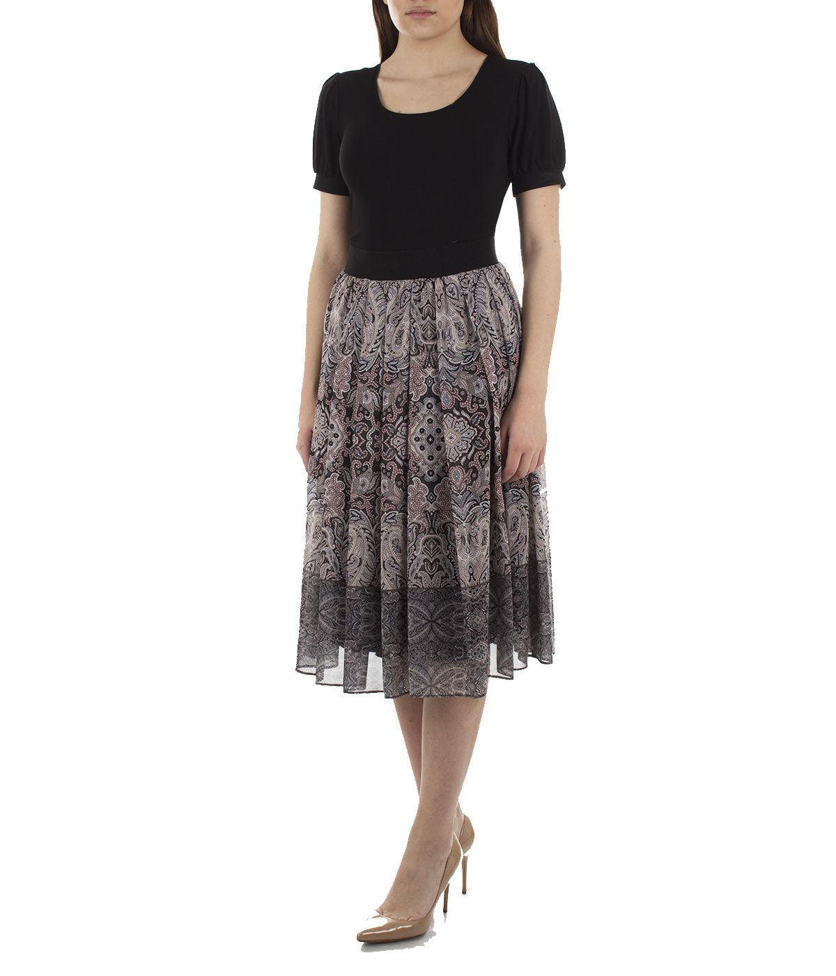 Midi skirt with box pleats and paisley print 2